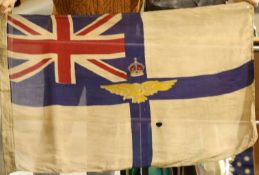 British WWI type Royal Flying Corps flag bearing stamps and dated 1918, 90 x 50 cm. P&P Group 1 (£