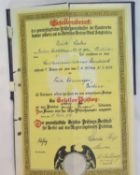 German Weimar Republic type fold out canvas bound certificate, dated 1932. P&P Group 1 (£14+VAT