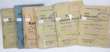 Six British and Commonwealth WWII type ration books. P&P Group 1 (£14+VAT for the first lot and £1+