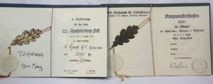 German Third Reich type District Swimming Championship bronze award dated 1941 and a further award