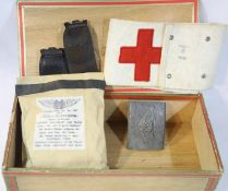 WWII German Cellar Find. Luftshultz Buckle, Fist Aid Dressing and Arm Band. P&P Group 1 (£14+VAT for