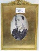Framed photograph of a German WWII Iron Cross recipient. P&P group 1(£14 + VAT for the first lot and