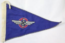 German Third Reich type DLV pennant, L: 34 cm, stamped Berlin and dated 1938. P&P Group 1 (£14+VAT