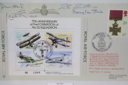Battle of Britain pilots signatures of Pete Brothers, Jack Rose and Douglas Grice, with a further