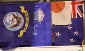 Collection of five flags. P&P Group 1 (£14+VAT for the first lot and £1+VAT for subsequent lots)