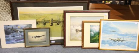 A large Gerard Coulson print Merlins Thunder, and a collection of other RAF related prints. Not