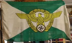 German WWII type Police Ordnungspolizei parade flag, 90 x 150 cm. P&P Group 3 (£25+VAT for the first