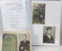Photographs, I.D card and cloth badge for Thomas Robinson Royal Navy. P&P Group 1 (£14+VAT for the