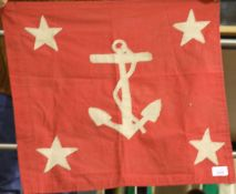 Unknown flag with fouled anchor and four stars, 60 x 60 cm. P&P Group 1 (£14+VAT for the first lot