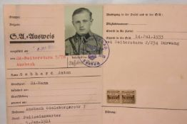 German Third Reich type SA Membership Book Dated 1934 containing good stamps, photo etc. P&P Group 1