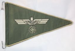 German WWII type staff car pennant, L: 33 cm. P&P Group 1 (£14+VAT for the first lot and £1+VAT