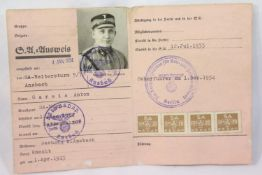 German Third Reich type S.A Membership Book Dated 1933 with good stamps etc. P&P Group 1 (£14+VAT