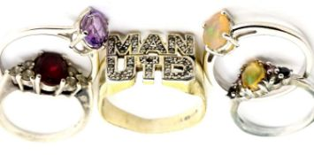 Five 925 silver assorted rings, including stone set examples, various sizes. P&P Group 1 (£14+VAT