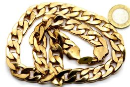 "Gents heavy solid link 20"" gold plated chain. P&P Group 1 (£14+VAT for the first lot and £1+VAT"