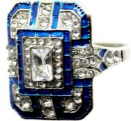 Square white metal Art Deco style dress ring, size M. P&P Group 1 (£14+VAT for the first lot and £
