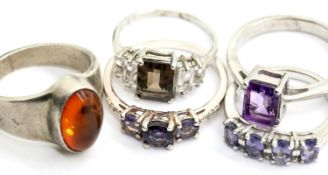 Five assorted sterling silver stone set rings, various sizes. P&P Group 1 (£14+VAT for the first lot