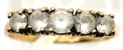 9ct gold dress ring set with five graduated stones, size L/M, 1.7g. P&P Group 1 (£14+VAT for the