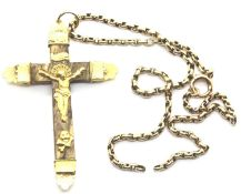 Yellow metal and wooden crucifix on a 9ct gold chain, 8.3g. P&P Group 1 (£14+VAT for the first lot