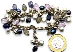 Silver bracelet with natural pearls and gemstones. P&P Group 1 (£14+VAT for the first lot and £1+VAT