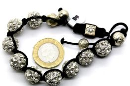 Ladies shamballa style bracelet, L: 20 cm. P&P Group 1 (£14+VAT for the first lot and £1+VAT for