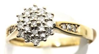 Ladies 9ct gold vintage diamond cluster ring, .25cts total, size M, 2.7g. P&P Group 1 (£14+VAT for