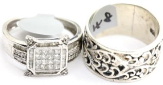 Two ladies silver rings, stamped 925, size R and Q. P&P Group 1 (£14+VAT for the first lot and £1+