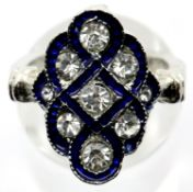 Art Deco style Blue Kite white metal dress ring, size K/L. P&P Group 1 (£14+VAT for the first lot
