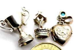 Three assorted vintage white metal charms. P&P Group 1 (£14+VAT for the first lot and £1+VAT for