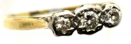 18ct gold platinum set three stone diamond ring, size L, 2.6g. P&P Group 1 (£14+VAT for the first