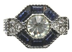 Blue hexagon form solitaire dress ring, size K/L. P&P Group 1 (£14+VAT for the first lot and £1+