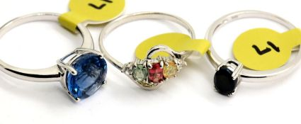 Three assorted 925 silver stone set rings, all size S. P&P Group 1 (£14+VAT for the first lot and £