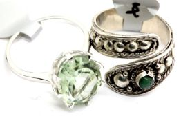 Two ladies silver rings, one stamped 925, size Q and U. P&P Group 1 (£14+VAT for the first lot