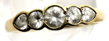 9ct gold ring set with five graduated stones, size M, 1.9g. P&P Group 1 (£14+VAT for the first lot