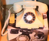 Ivory GPO Carrington push button telephone in 1920s styling with pull out pad tray, compatible