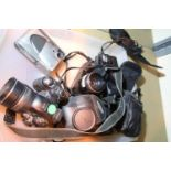 Tray of mixed cameras including digital Fuji film fine pix 1300. Not available for in-house P&P