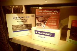 Boxed Blaupunkt car radio cassette player MBP588OK, a boxed Pioneer KE2700B car radio and cassette