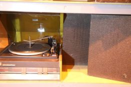 Retro Elizabethan record player and two speakers. Not available for in-house P&P Condition Report:
