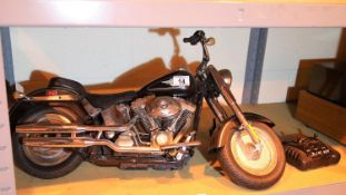 Harley Davidson FatBoy rollercoaster motorcycle with remote control. Not available for in-house P&P