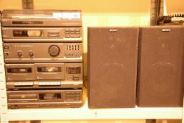 Sony LBT-V102 compact stereo system and separate Sony CDP M18 compact disc player and two