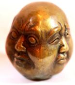 Four faced antique type brass Buddha head. P&P Group 1 (£14+VAT for the first lot and £1+VAT for