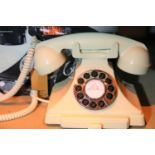 Ivory GPO Carrington push button telephone in 102-s styling with pull out pad tray, compatible