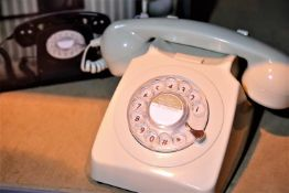 Ivory retro rotary phone replica of the 1970s GPO746 classic phone with authentic bell ring,