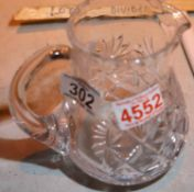 Crystal water jug, H: 15 cm. Not available for in-house P&P