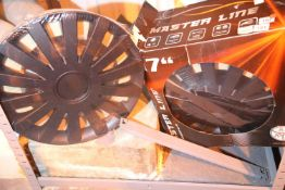"""Set of four 17"""" master line wheel trims, new old stock. Not available for in-house P&P"""