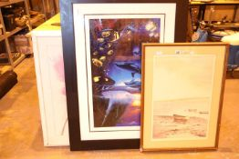 Two large contemporary prints and a limited edition print. Not available for in-house P&P