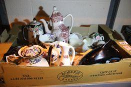 Ceramics including a Royal Crown Derby cake slice, Wedgwood Jasperware jug, Poole dolphin etc. Not