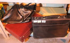 Leather effect briefcase, leather effect Attache case and a black holdall. Not available for in-