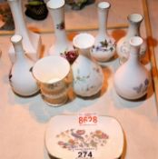 selection of decorative ceramic posy vases plus a decorative wedgewood dish Not available for in-
