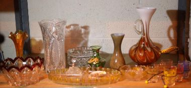 Shelf of mixed glassware including coloured. Not available for in-house P&P