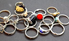 Collection of silver coloured dress rings. Not available for in-house P&P